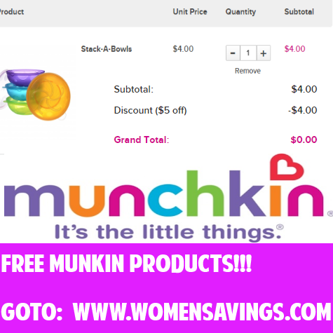 Free Products from Munchkin with Coupon Code