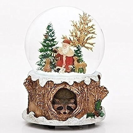 Musical Glitter Dome, Features Santa with Woodland Animals Giveaway