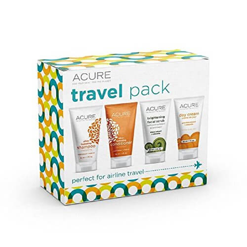 ACURE Essentials Travel Size Kit, Shampoo, Conditioner, Day Cream and Facial Scrub