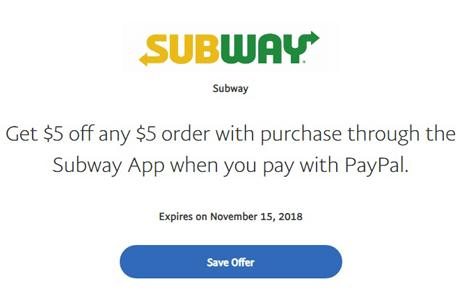 FREE $5 off any $5 order at Subway