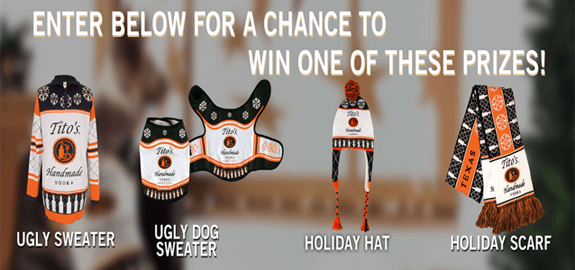 Tito's Holiday 2018 Sweepstakes (2,000 Winners)
