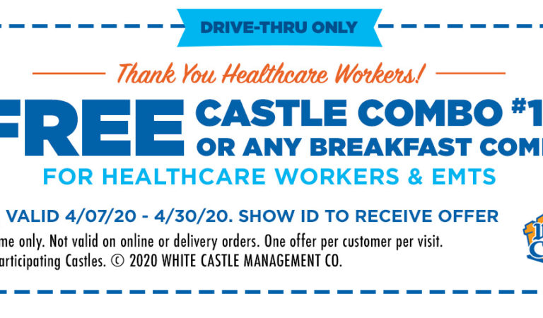 Free White Castle Combo Meal for Healthcare Workers